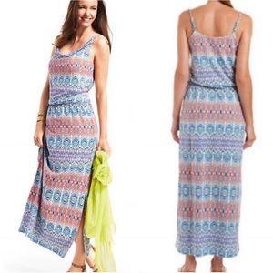 CAbi In The Sun Aztec Maxi Dress Sm EUC Side Slit